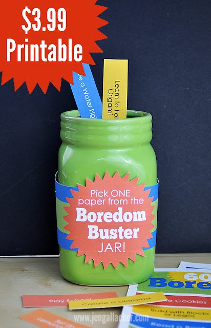 """Boredom Buster Jar"" printable with activities kids can do to occupy themselves. #boredombuster #kidsactivities #kidscamp"