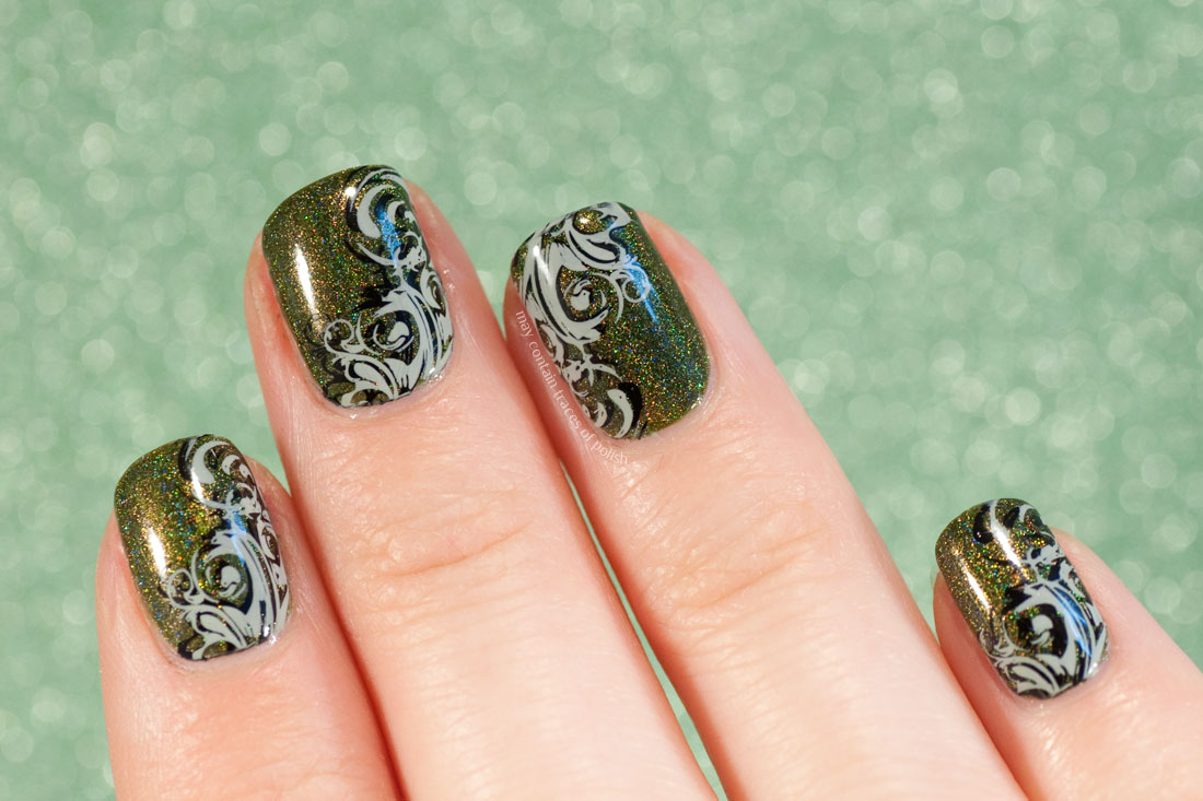 Green Holo Manicure stamped with MoYou Pro 04