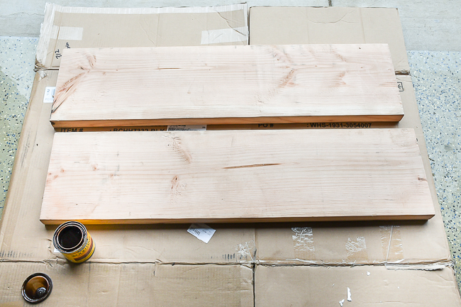 staining wood shelves for odffice