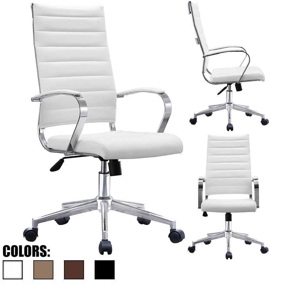Office Chair Modern PU Leather Ergonomic Ribbed High Back Executive White