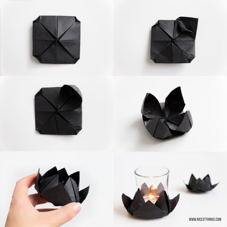 Origami Lotus Lotusblüte DIY Teelicht Halter #diy #origami #lotus #lotusblüte
