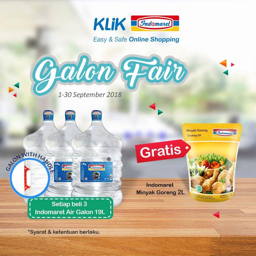 Indomaret - Promo Beli 3 Galon Gratis Minyak Indomaret 2L (s.d 30 Sept 2018)