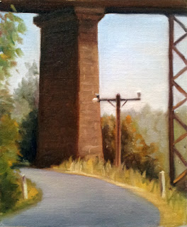 Oil painting of a telephone pole in front of a bluestone and an iron viaduct pillar.