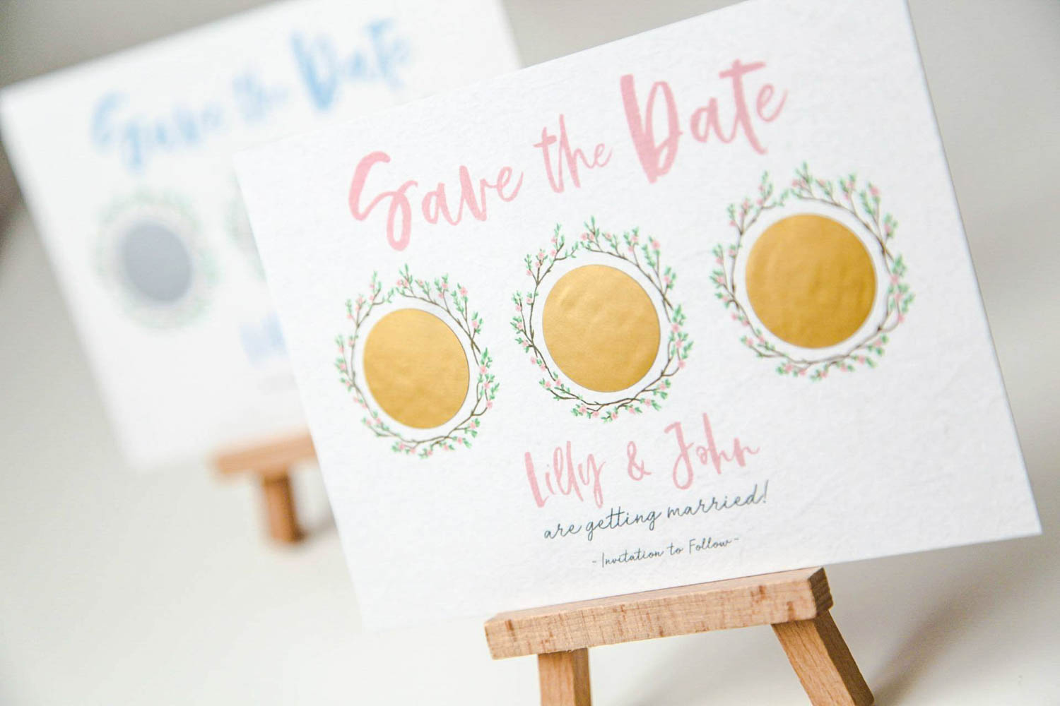 Scratch Off Save the Date Invitation Floral Wreath