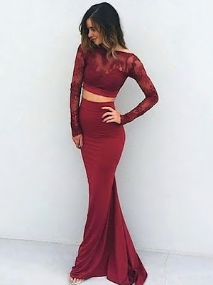 Sexy Trumpet/Mermaid Scoop Neck Lace Silk-like Satin with Lace Sweep Train Backless Long Sleeve Two Piece Prom Dresses