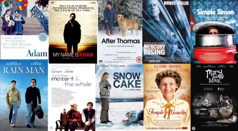 Le copertine di alcuni film che trattano il tema dell'autismo.
