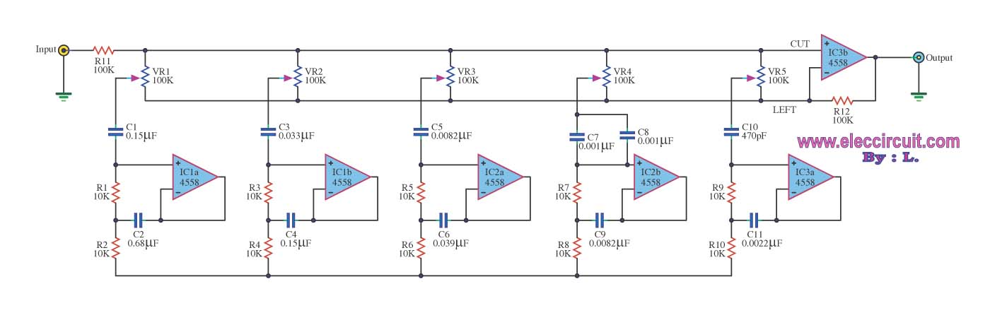 5 Band equalizer tone control with 4558 - Electronic Circuit