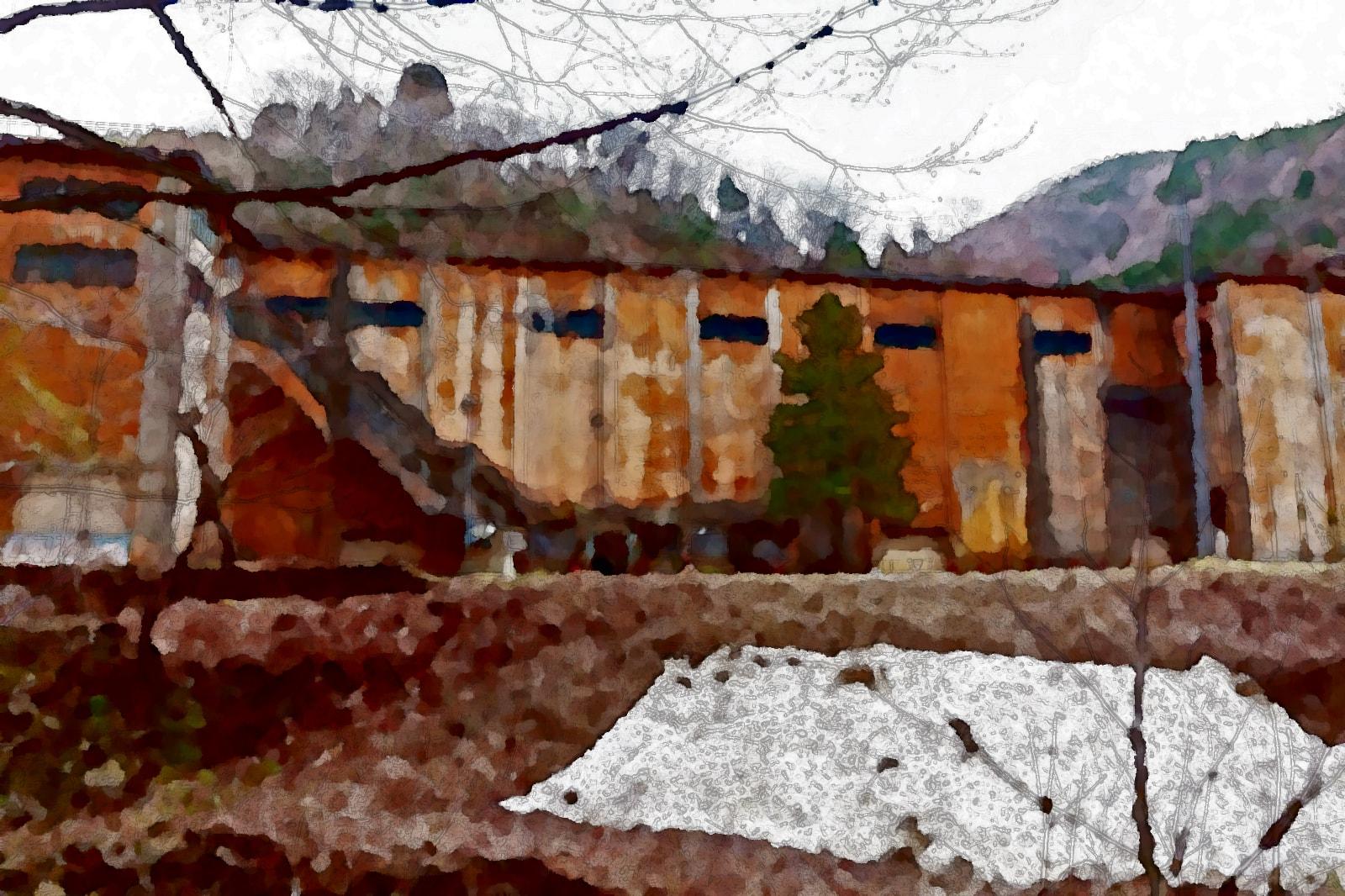 水彩画の古遠部鉱山跡