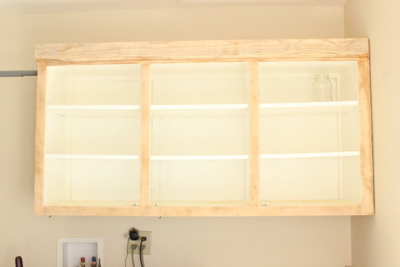 Here's a look at the laundry room cabinets fully sanded and ready for paint