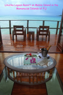 Your view in the over-the-water bungalows at Likuliku Resort Fiji Islands. Copyright Jerome Shaw 2011 / www.JeromeShaw.com