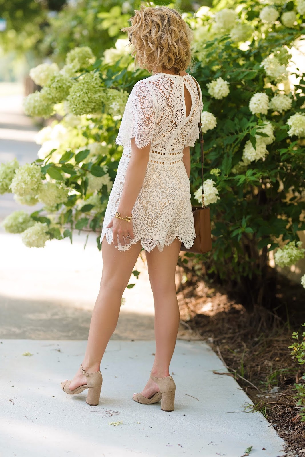 Nordstrom Anniversary Sale Lace Romper and Suede Sandals - Something Delightful Blog