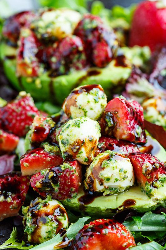 Strawberry Caprese Stuffed Avocados with Pistachio Pesto