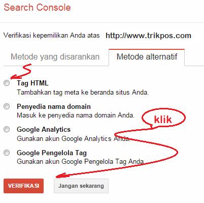Cara Mengverifikasi Blog di Google Webmaster Tool