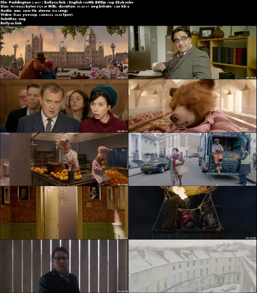 Paddington 2 2017 BRRip 950MB English 720p ESub Download
