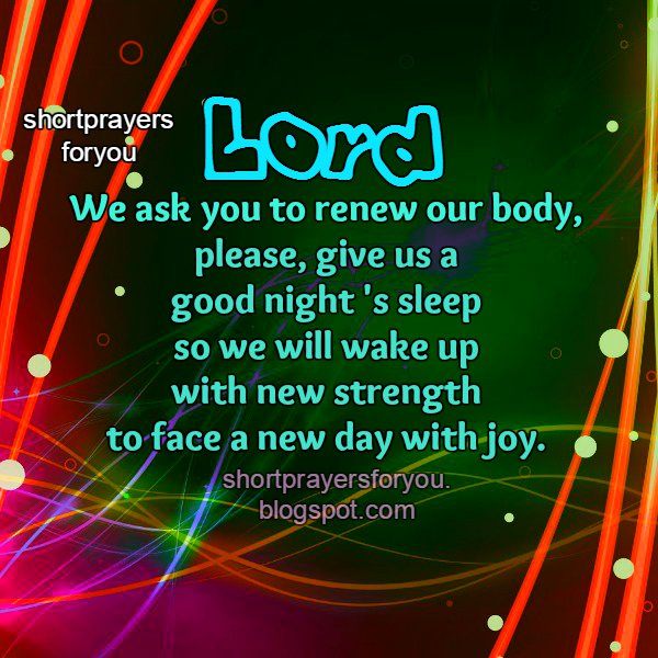 short prayer before going to bed sleep