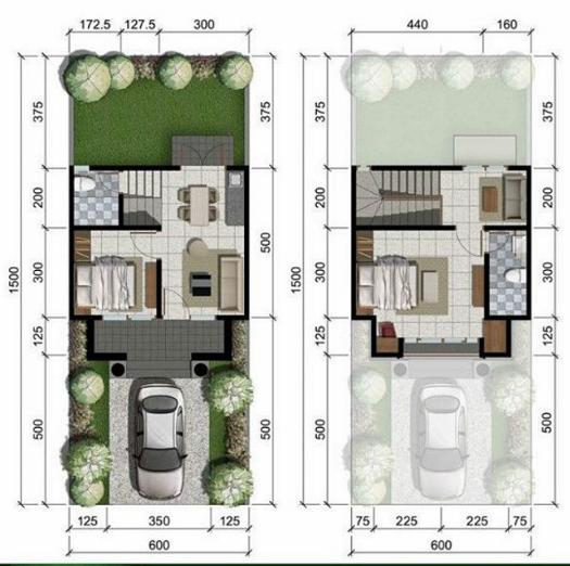 Denah rumah minimalis ukuran 6x15 meter 2 kamar tidur 2 lantai