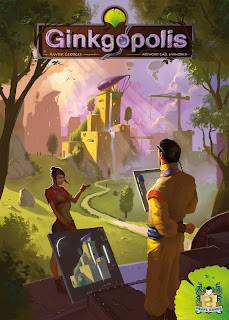 The cover art for Ginkgopolis. A man and a woman in vaguely futuristic clothing looking at some technology that appears to be planning the construction of a futuristic city, standing on a metal platform in a grassy area with a few trees, as a path runs towards some sci-fi buildings in the background.