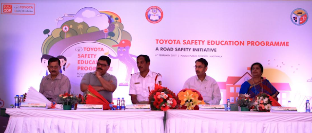 Mr. Ravi Raman, President, SEEDS (implementing partner), Mr. Naveen Soni, Vice President, Toyota Kirloskar Motor, Mr. Puttamadaiah, Inspector, Traffic,  Mr. Shekar Viswanathan, Vice Chairman & Whole-Time Director, Toyota Kirloskar Motor and Ms. Manjula Devi, Principal Police School at the inauguration of Toyota Safety Education Program at Police Public School, Madiwala.