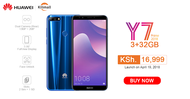 Huawei Y7 Prime 2018  exclusive at Kilimall