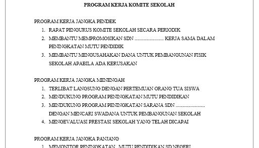 Download Susunan Program Kerja Dan Agenda Komite Sekolah Web Ptk