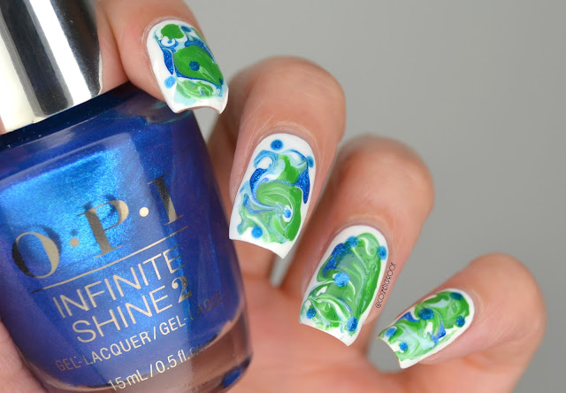 Earth Day Dry Water Marble Nail Art