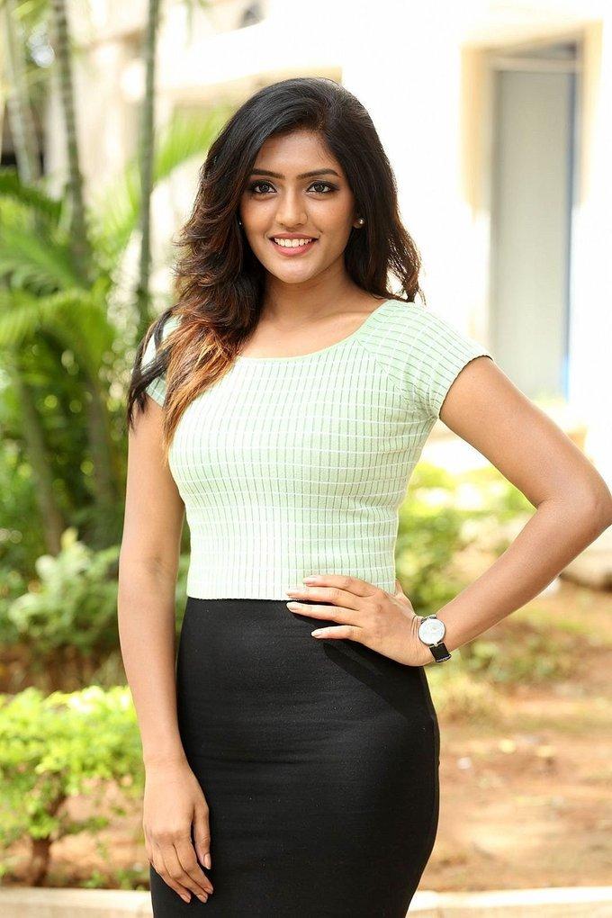 Eesha Rebba In White Top At Darshakudu Telugu Movie Press Meet