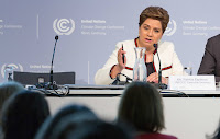 The UN's top climate official, Patricia Espinosa, addresses the Bonn meeting. The U.S. has sent an unusually small team of just seven mostly Obama-era officials. (Credit: UNFCCC) Click to Enlarge.