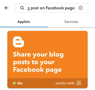 Share Blogger posts to Facebook page IFTTT applet