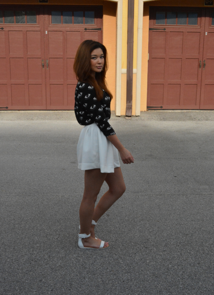 Oasap, Eye Button Up Shirt, Eye print, Nasty Gal Skirt, Skater Skirt, Summer outfits