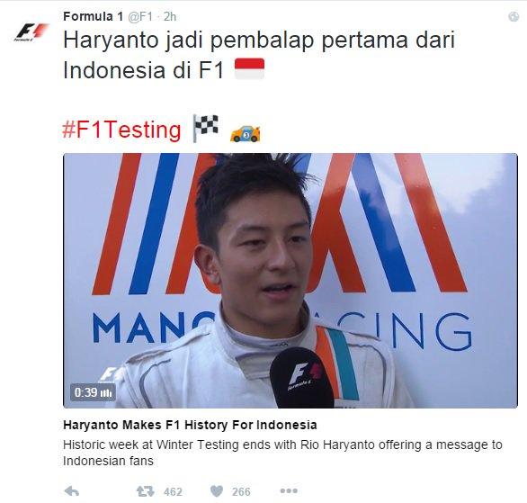 Kehadiran Rio Haryanto Mulai Membawa Efek Bagi Formula 1, Ini Buktinya