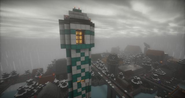 torre en una ciudad minecraft