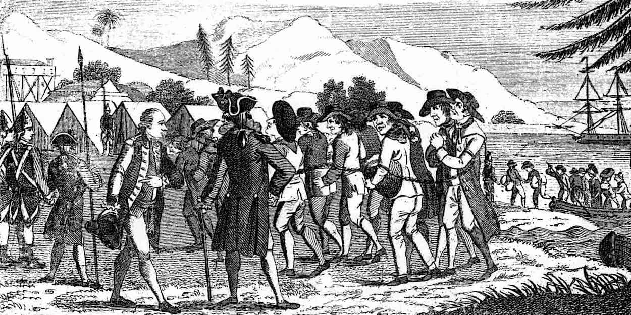 Convicts arriving at Australian penal colony