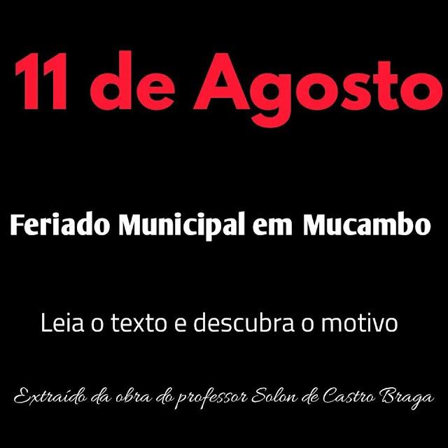 História em Questão: 11 de Agosto, feriado Municipal em Mucambo. Leia o texto e descubra o motivo.
