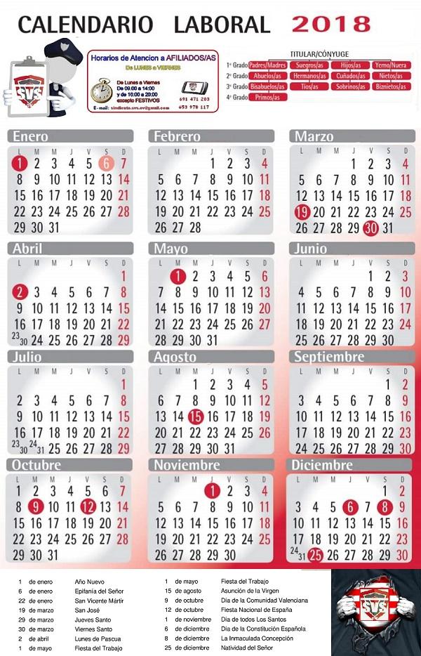 Calendario Laboral De Valencia.Svs E Prosegur Valencia Calendario Laboral 2018