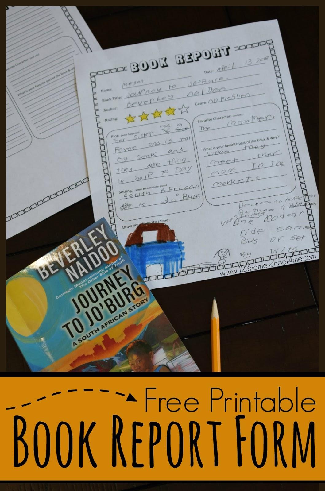 Free Simple Book Report K 5th Grade