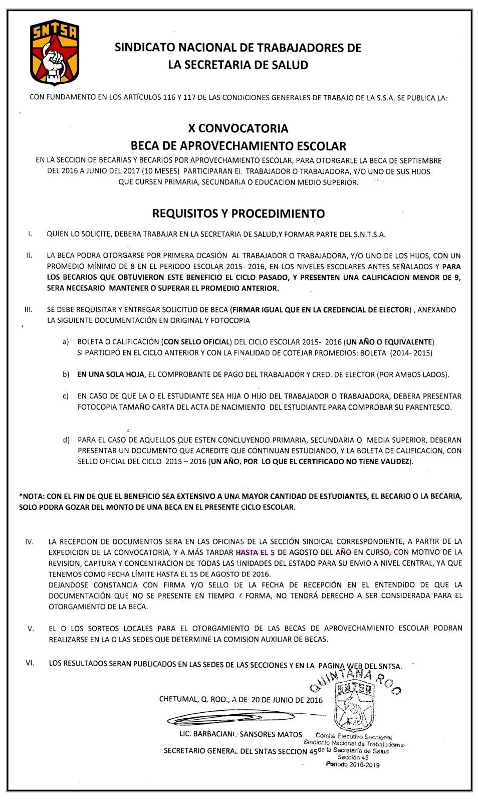 Portal sindicalista sntsa x convocatorias para becas for Convocatorias para profesores 2016
