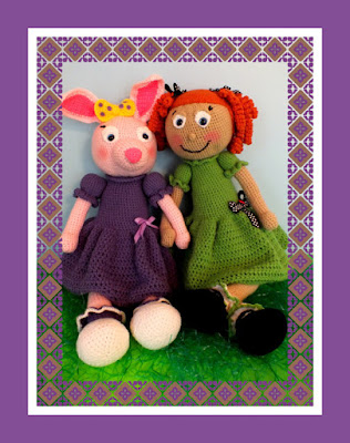 This pattern makes both of these cute dolls and has step by step  instructions with lots of pictures! They are both 27