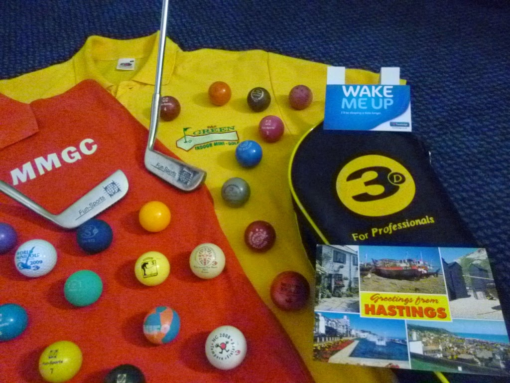Greetings from Hastings - minigolf kit laid out and ready for a weekend of Crazy Golf action in Hastings