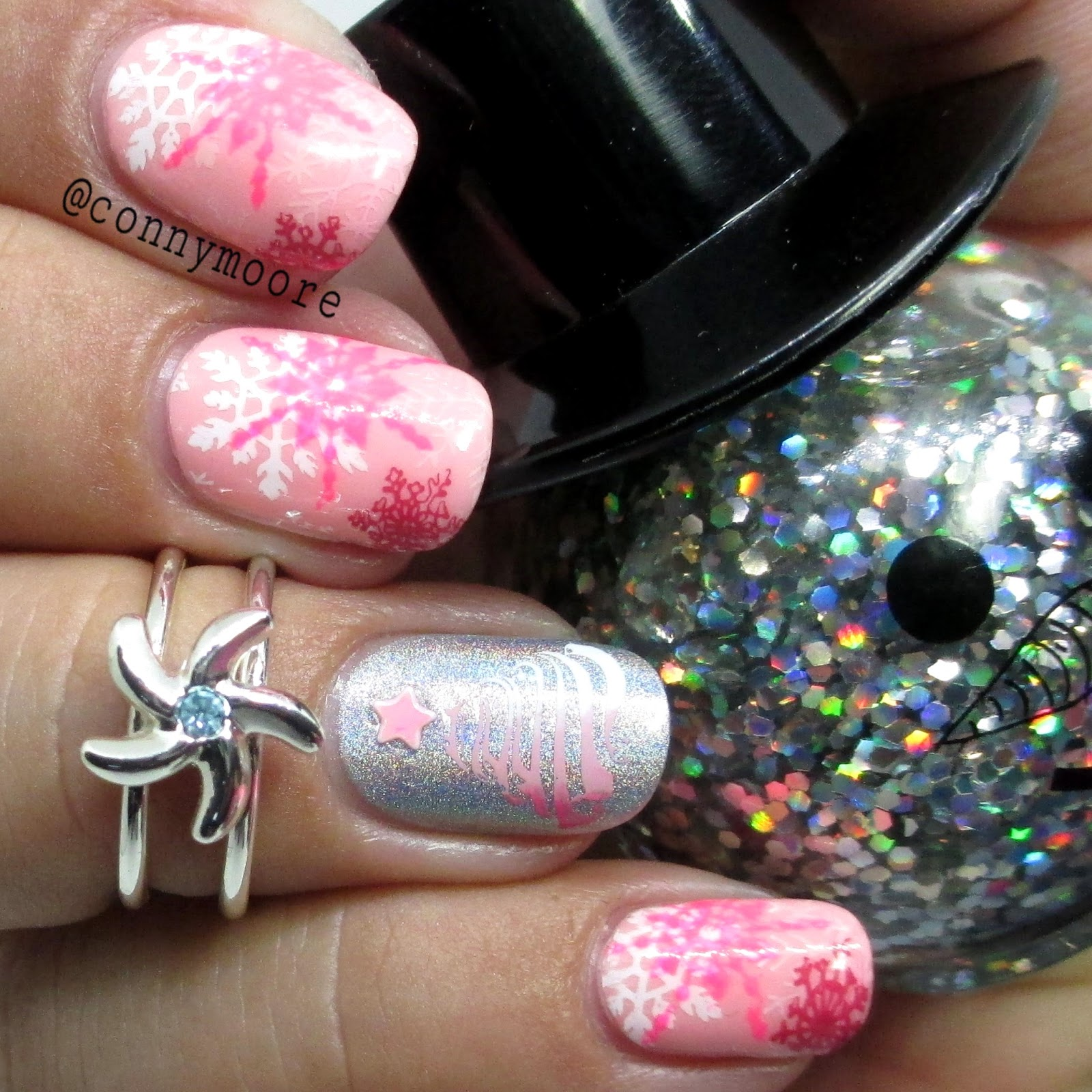 Pink Snowflakes With Holo Accent Nail Art