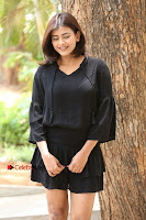 Actress Hebah Patel Stills in Black Mini Dress at Angel Movie Teaser Launch  0110.JPG