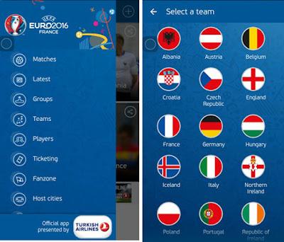 menu Aplikasi Euro 2016