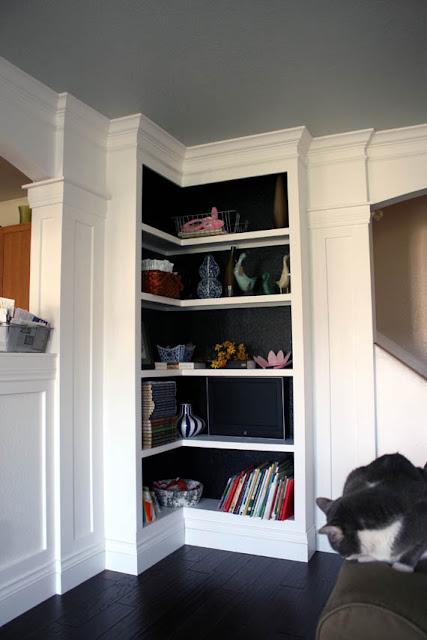 Remodelaholic | PR 2: Painting the Bookcase Interiors Black!