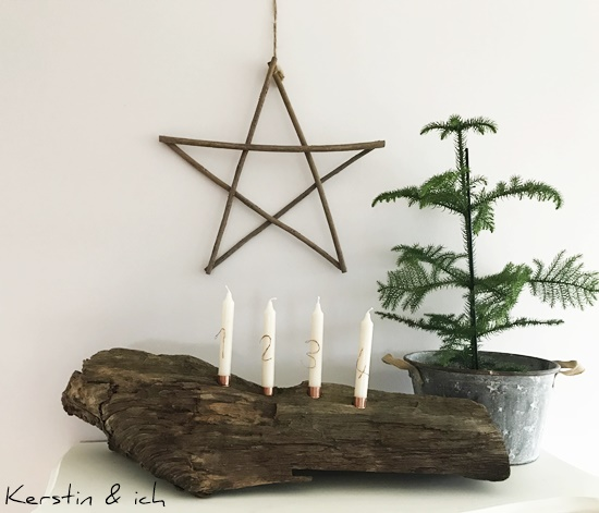 Adventskranz DIY Weihnachten Holz Advent Kupfer