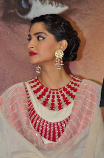 Sonam Kapoor Pictures in White Salwar Kameez at Neeraja Movie Promotions