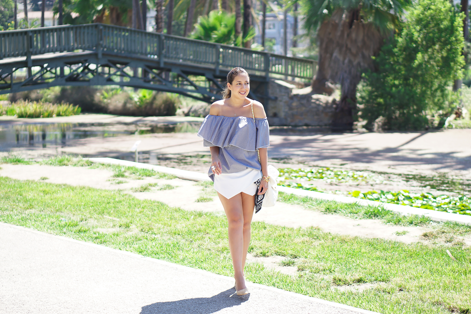 Echo Park, Shein Flowy Top, MLM Label Dupe, White Skort, Zara beige slingbacks, H&M Flower Ring, Shein Review, By Chef Chloe Los Angeles Review, Mango Beige Slingbacks,