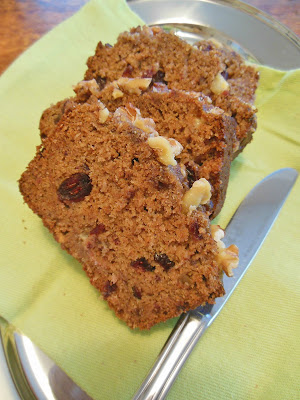 whole grain fruit sweetened quick bread with cranberry white chocolate and pear