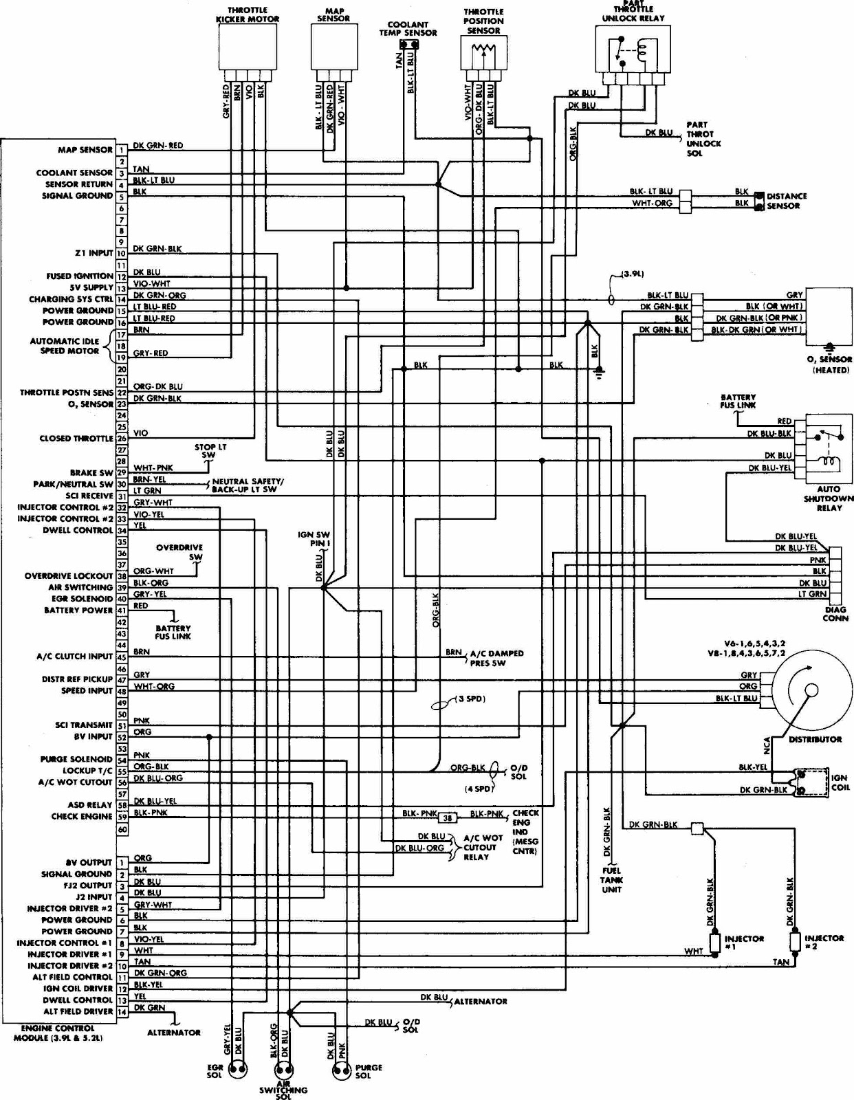 dodge w100 1988 engine control wiring diagram dodge  [ 1242 x 1600 Pixel ]