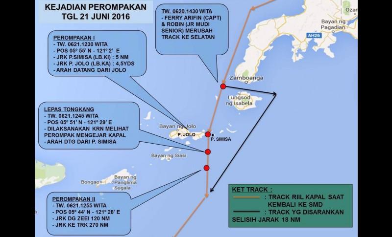 Peta penyanderaan 7 WNI ABK TB Charles di Laut Jolo, Filipina
