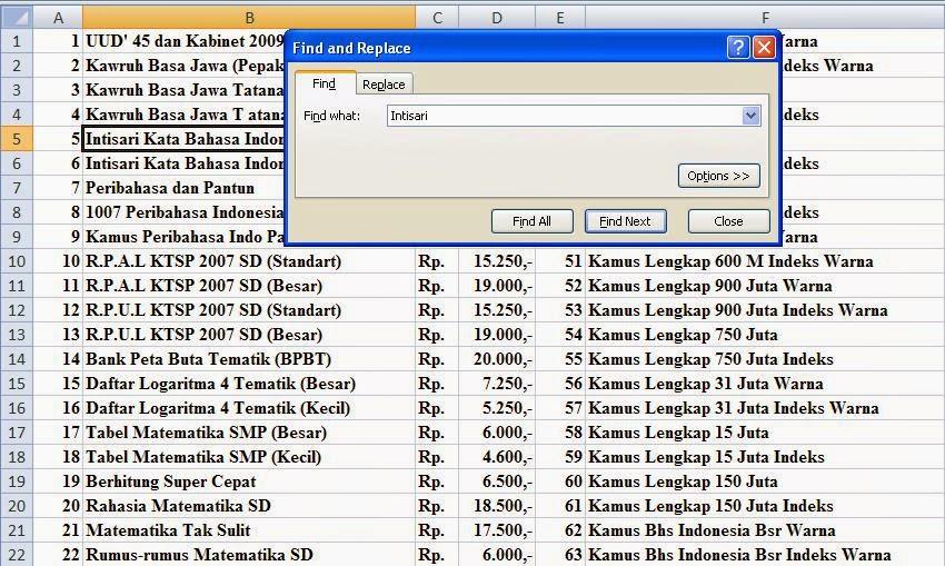 Cara Mencari Data Pada Ms.Office Excel