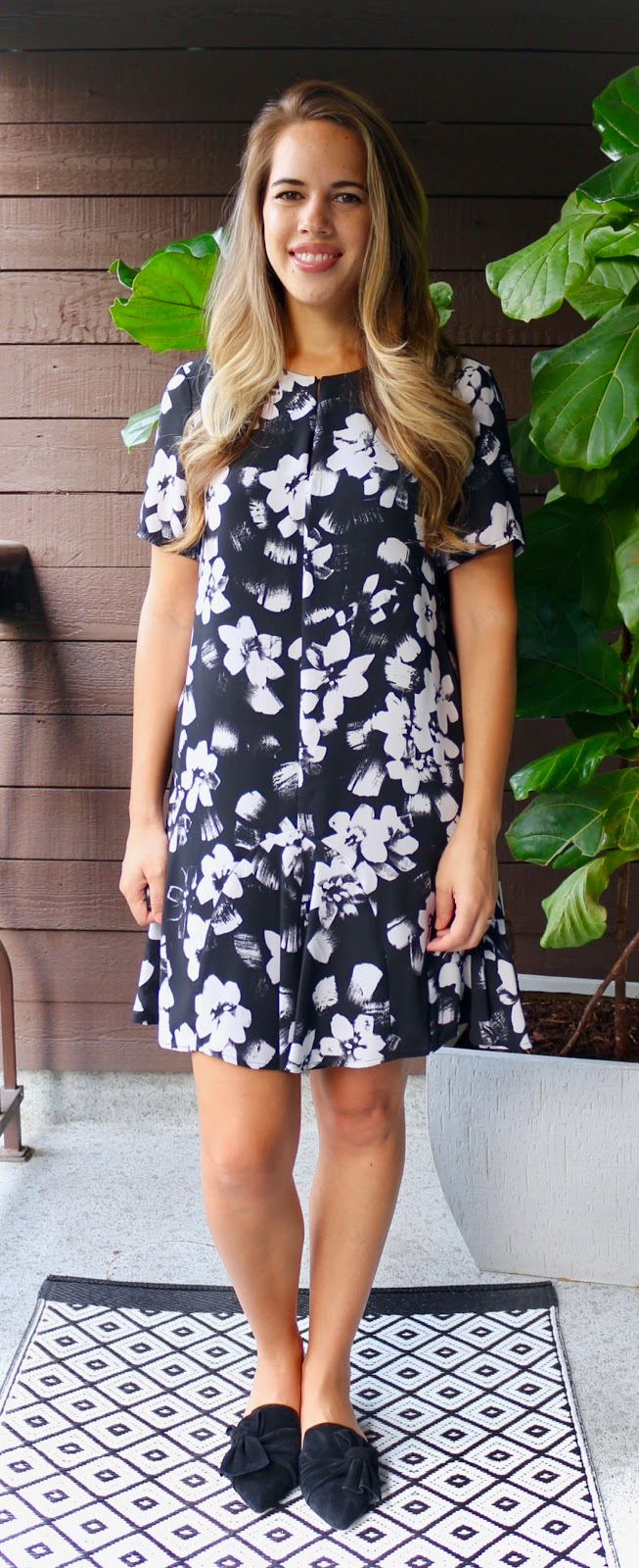 Jules in Flats - Ruffle Hem Shift Dress with Bow Mules (Business Casual Summer Workwear on a Budget)